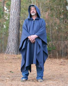 Navy Linen Blend Hooded Cape or Poncho XL  XXL by DonnasDesignsSC