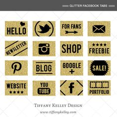 Custom Gold Glitter Facebook App Icons / Buttons, Gold Glitter Social Media icons - Instant Download