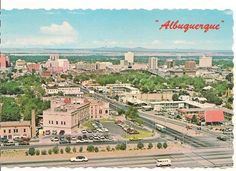 Albuquerque, looking west down Grand Avenue, New Mexico, Paris Skyline, City, Places, 1970s, Travel, Vintage, Viajes, Cities