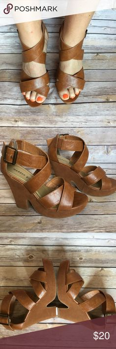 Madden Girl platform Wedge Sandals Brown man made wedge sandals with 4 1/2 inch heel and 1 inch platform. Never worn just tried on. Madden Girl Shoes Wedges