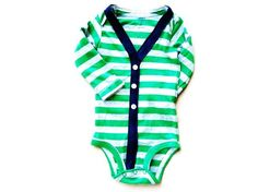 Baby Cardigan Onesie - 3M - Green Preppy Baby Boy Sweater - Perfect for a Fall or Winter Baby Shower Gift