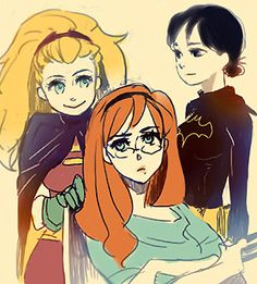 From left to right, Stephanie Brown/Robin (was The Spoiler first), Barbara Gordon/Oracle (was Batgirl first), Cassandra Cain/Batgirl (was Black Bat first)