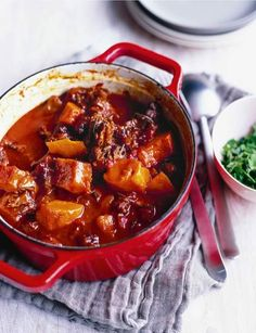 Oxtail stew with pumpkin and cinnamon Sainsbury& Magazine - OXTAIL Recipes - Oxtail Recipes, Slow Cooker Recipes, Beef Recipes, Cooking Recipes, Slow Cooking, Uk Recipes, Batch Cooking, Cooking Tips, Ottolenghi Recipes