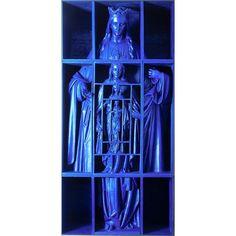 Nu te zien in @hetnoordbrabantsmuseum: Jacques Frenken, Blauwe Madonna, 1964. De tentoonstelling 'verspijkerd en verzaagd' laat kunstenaars zien die heiligbeelden hergebruiken om nieuwe kunst mee te maken.