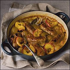Delia Smith's recipes: sausages braised in cider Sausage Recipes, Pork Recipes, Cooking Recipes, Recipies, Hot Dogs, Healthy Cooking, Healthy Recipes, Eating Healthy, Delia Smith