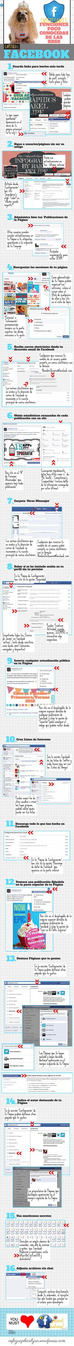 INTERESANTES FUNCIONES POCO CONOCIDAS DE FACEBOOK #INFOGRAFIA #INFOGRAPHIC #SOCIALMEDIA