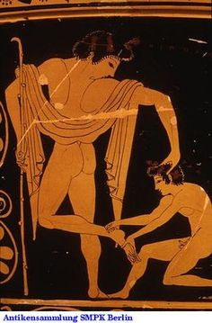 Berlin F Attic red figure calyx krater, ca. An athlete's slave boy helps him prepare for competition. Ancient Greek Art, Ancient Greece, Ancient History, Bay Area Figurative Movement, Greek Pottery, Roman Art, Minoan, Gay Art, Erotic Art