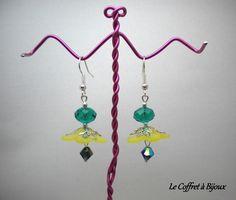 BO Fleur des Iles Jaune et Perles Vertes et Noires de Le coffret à bijoux sur DaWanda.com