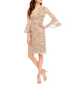 83f905350e0 David Meister Embroidered Bell Sleeve Sheath Dress