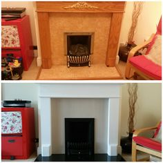 Fireplace makeover 2017. Wooden mantel de-motifed, primed (Zinsser BIN sealer) and glossed (own brand brilliant white eggshell). Laminate surround had three coats (Rustoleum Hessian chalk paint) and waxed. Gas fire decommissioned and grate etc spray painted (Rustoleum stove & BBQ spray). New granite hearth. Painted Fireplace Mantels, Wooden Fireplace Surround, Granite Fireplace, Paint Fireplace, Fireplace Remodel, Fireplace Surrounds, Fireplace Design, Granite Hearth, Wooden Mantel