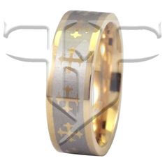 Gold Tone Stainless Steel Cross Ring Wedding Band