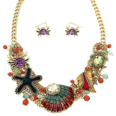 Starfish Necklace Chain Link Sea Shell Crab Stones GOLD MULTI Fish Beach Jewelry   Jewelry & Watches, Fashion Jewelry, Necklaces & Pendants   eBay!