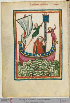 Friedrich von Hausen ist zwischen 1171 und 1188 urkundlich belegt. Er entstammte einem edelfreien Geschlecht des Rhein-Main-Gebiets, das zwischen Oppenheim und Worms begütert war und hatte enge Beziehungen zum jungen König Heinrich VI. (Miniatur 1).
