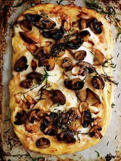 polenta and mushroom pizza with taleggio and tarragon from donna hay