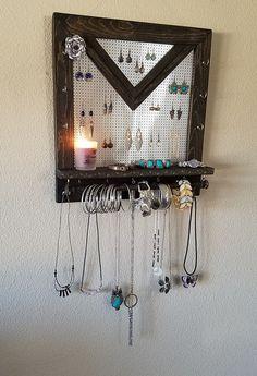 Bijoux rustique organisateur, rangement bijoux, mural organisateur de bijoux, V - forme Stud cintre