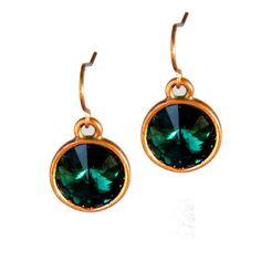 Emerald Green Crystal Disc Earrings Copper by CarrieCreative, $12.00