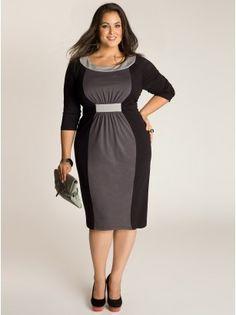 Sophie Colorblock Dress in Black/Grey