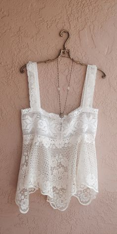 Bohemian crochet Vintage Lace Camisole gypsy wedding coverup for beach Mode Hippie, Mode Boho, Bohemian Style, Boho Chic, Lace Camisole, Boho Fashion, Womens Fashion, Mode Outfits, Vintage Lace