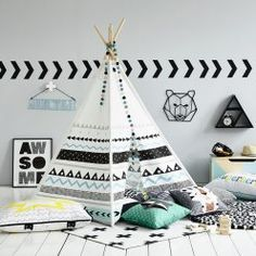 There are hours of fun to be had with this fantastic Teepee tent from Adairs Kids. Featuring an array of cool geo shapes that look so modern and stylish, let your little ones imagination run wild with adventure as they play inside their very own tent. Kids Tents, Teepee Kids, Teepee Tent, Teepees, Ideas Habitaciones, Childrens Teepee, Adairs Kids, Kids Room Design, Kids Decor