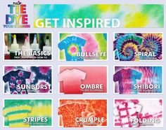 8 great techniques + tie dye basics to get you started tie dyeing!!!