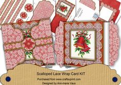 Christmas Bells Red Poinsettia 3D Scallop Wrap Card Kit on Craftsuprint - Add To Basket!