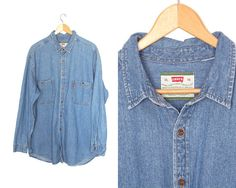 Levi jean by LiveToLiveVintage Levis Shirt, Levis Jeans, Denim, Boyfriend Shirt, Jean Shirts, Vintage Levis, Button Up, Sleeves, Cotton