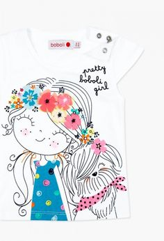 Knit t-Shirt for baby girl. Buy kids fashion designer clothes for babies and children in the boboli online store. Summer Girls, Kids Girls, Little Girls, Cute Outfits For School, Kids Outfits, Look Legging, Kids Graphics, Fabric Markers, Girls Blouse