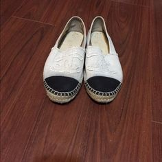 Authentic Chanel espadrilles These are a size 39, but they fit a size 8, these shoes run small. Little bleeding on the fabric and have been worn, but have a lot of life left in them. I'm not too sure if I want to let these go, so the price is firm. CHANEL Shoes Espadrilles
