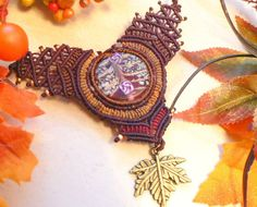 Autumn Colorsmicro macrame handmade necklace micro by BohemaNights