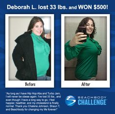 """::09/22/13:: Check out Debra's AMAZING transformation! She lost 33 LBS and 16"""" with #HipHopAbs + #TurboJam! REPIN and LIKE to show Debra some love!"""