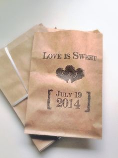 Personalized Favor Bags for Candy Bar - Rustic, Vintage Wedding Paper Bags Kraft Treat Bags