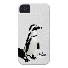 Modern Artsy Black White Penguin iPhone 4 Case