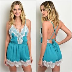 """CLEARANCE Fun and flirty romper Sz large Fun and flirty romper  0-small 0-medium  large  PLEASE SEE CLOSE UP FOR TRUE COLORBRIGHT TEAL GREEN  This is semi sheer I advise sticky bra and nude undergarments  Light and airy  Delicately trimmed in lace  Large bust up to 38"""" Elastic waist up to 34 Hips up to 40""""  Open self tie back  Length from top point of lace on bust 29"""" Girth 25""""  100% polyester   Length and girth may vary due to being self tie TRUE COLOR IS BRIGHT TEAL Pants Jumpsuits…"""