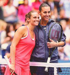 Flavia Pennetta and Roberta Vinci   US Open 2015 Final. Pennetta def. Vinci 7-6(4), 6-2 #WTA #Pennetta #Vinci #USOpen