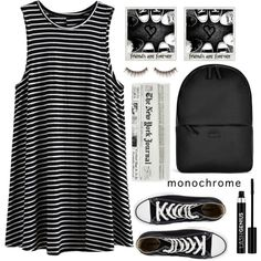 A fashion look from April 2016 by karineminzonwilson featuring Converse, Rains, Anastasia, shu uemura, Polaroid, monochrome, stripes and blackandwhite