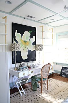 A Storied Style: Home Office / Guest Room Makeover Part 2 - The Reveal! Thank you all for your kind comments on Part 1 of Grace's home office / guest room update ! I am excited to be back today to share the resu. Home Office Space, Home Office Design, Home Office Decor, Home Decor, Office Ideas, Guest Bedroom Office, Guest Room Decor, Guest Rooms, Grey Interior Doors
