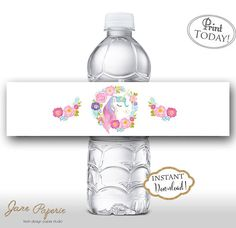 Every little detail counts. This Pastel and colorful printable water bottle labels perfect for a DIY rainbow and unicorn themed party! INSTANT DOWNLOAD Printable Gold Glitter Unicorn Printable Water Bottle Labels. Find more coordinating printables at JanePaperie: https://www.etsy.com/shop/JanePaperie