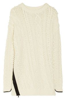 3.1 Phillip Lim Faux leather-trimmed cable-knit sweater | THE OUTNET