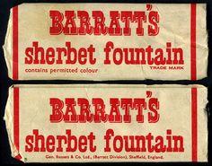 UK - Barratt's Sherbet Fountain - candy package - cardboard tube flattened - 1970's by JasonLiebig, via Flickr