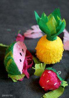 DIY Mini Fruit Piñatas! Make your own adorable fruity decor using foam and crepe paper!