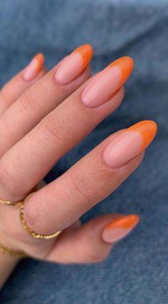 Bright Orange Nails, Orange Acrylic Nails, French Tip Acrylic Nails, Almond Acrylic Nails, Yellow Nails, Cute Acrylic Nails, Gel Nails, Colored French Nails, Nail Polish