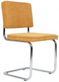 RETRO STOEL RIDGE  Heerlijk zittende retro eetkamerstoelen.    Swinger model, met lichtverend buisframe lijken deze stoelen op de alom bekende nederlandse Design klassiekers. Met deze juiste kleuren ribstof krijgen deze stoelen een 60 ies - 70ies look die graag gezien word. Met of zonder armleggers te verkrijgen