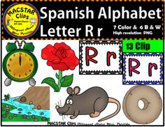 "Letter  R r Spanish Alphabet Clip Art   Letra Rr Personal and Commercial Use ""MACSTAR Clips   13 images in totalYou will receive: 7 Color Clip Art: As shown in the preview ratn, reloj, rio, rosa, rueda, and two letter labels or tiles6 Black and White Clip ArtAll images have high resolution and are in PNG formats so they can easily be layered in your projects and lesson materials.Terms of Use:The clip art may be used in educational commercial products."