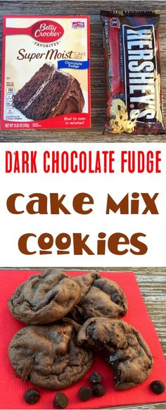 chocolate-fudge-cake-mix-cookie-recipe-easy-from-neverendingjourneys-com - Easy cookies - Cake Box Cookies, Cake Mix Cookie Recipes, Yummy Cookies, Cookies Et Biscuits, Cake Recipes, Box Cake, Fudge Recipes, Cookies Bag, Cake Batter Cookies