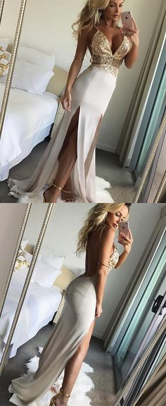 sexy spaghetti straps ivory party dresses with split, modest v neck mermaid prom dresses with beading, unique beading bodice backless prom dresses