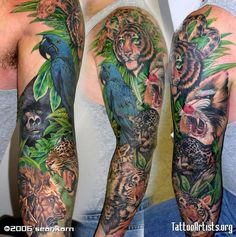 ... Tattoos Half Sleeve Jungle Animal Tattoo Tattoos Jungle Rainforest