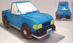Truck cake - This was a last minute order for a 4 x 4 pick up truck for a little boy's first birthday.  I simply stacked and carved down a 1/2 sheet cake into a truck shape and iced accordingly.  She wanted whipped frosting, which will be my last time with 3D cakes, it was so hard too smooth.  The tires are doughnuts, the plates are fondant, and the 1 is made out of marshmallow sundae topping.