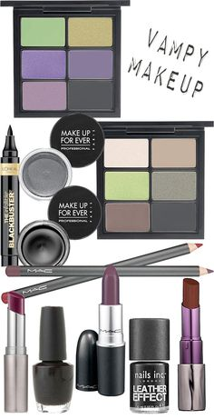 The best vampy makeup for fall includes dark smokey eyes with lots of liner on eyes, wine stained or plum lips and almost black nails.