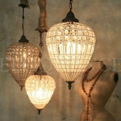 Reproduction Teardrop Beaded Chandelier - i just love everything about this.