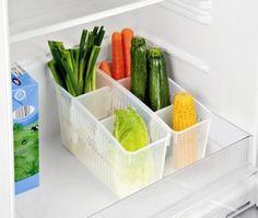 Karotten, Gurken, Lauch und Zucchini hochkant im Kühlschrank lagern. Coole Idee für ein Ordnungssystem in der Küche und im Kühlschrank.